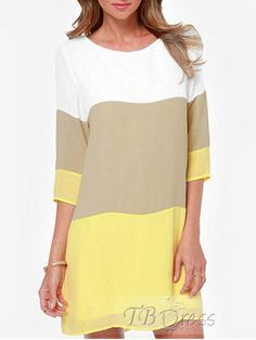 Chiffon Color Block Women's Day Dress(Plus Size Available)