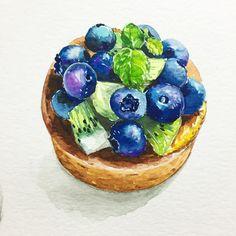 Watercolor fruit tart