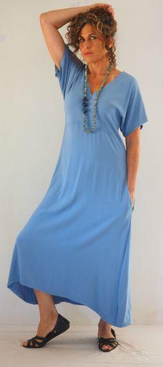 Long blue dress, Loose dress, Yoga dress, Maxi dress with pockets, Boho Blue maxi dress, Rayon dress, kimono dress, High waisted Dress by TaliaDesignerClothes on Etsy