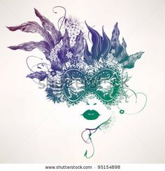 stock vector : Abstract woman face with flowers. Vector fashion illustration