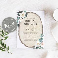 Rustic Magnolia Bridal Shower Invitation Wood Shower Invites | Etsy