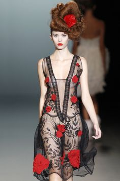 2011 | Black Sheer with Embroidered Red Roses by Elisa Palomino