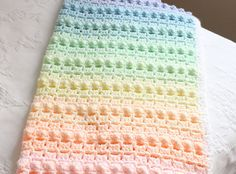 Crochet Pattern Rainbow Baby Blanket Pretty by artisaninthewoods