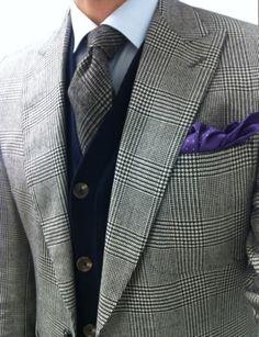 Navy blue waist coat - Purple pocket■ plaid- check