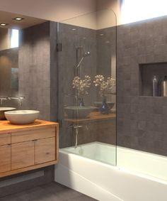 frameless bathtub shower screen swing door 60 x 335 516