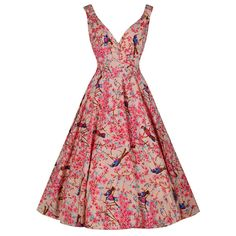 Soft Pink Bird Print Swing Dress