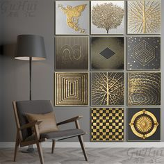 """""""Abstract Gold Angel Mouth Tree Black White Geometric Square Texture Canvas Painting Posters And Prints Wall Pictures Living Room"""" Black And Gold Living Room, Black And White Wall Art, Black White Gold, Texture Painting On Canvas, Islamic Wall Art, Gold Walls, Living Room Art, Living Spaces, Animal Decor"""