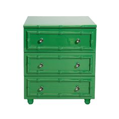 World Away Green Lacquer Bamboo Detailed 3 Drawer Nightstand PEYTON GR