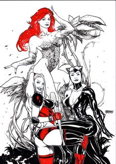 Poison Ivy, Harley Quinn, Catwoman by Fran