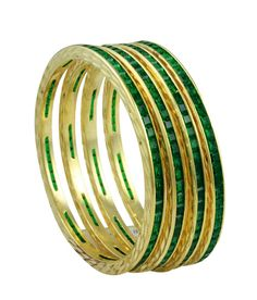 The Art Jewellery Gold Plated Green Stone Channel Bangles, http://www.snapdeal.com/product/the-art-jewellery-gold-plated/1053979287