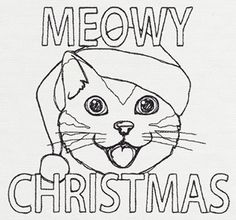 Meowy Cat Christmas design (UT11208) from UrbanThreads.com