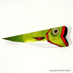 Reclaimed Wood Fish Folk Art Painted Olive Green by TaylorArts