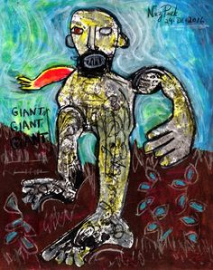 "NEZ PEEK Original Drawing ""THE GIANT ORION"" outsider ABSTRACT ART EXPRESSIONIST #Expressionism"