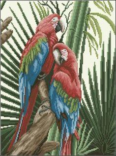 Parrots by Lanarte Cross Stitch Bird, Cross Stitch Designs, Cross Stitching, Cross Stitch Embroidery, Embroidery Patterns, Bird Patterns, Needlepoint Canvases, Chrochet, Bead Art