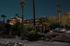 Modernist Architecture under the light of a full moon. Trina Turk's home shown here.