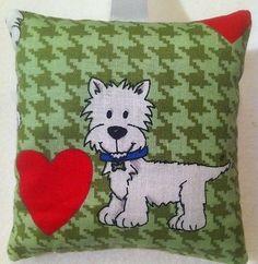 Westie Gift / Westie Fabric Lavender Bag / Westie Valentine - Handmade