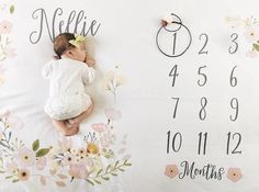 Baby Month Milestone Blanket- Blossom - Girl - Personalized Baby Blanket - Track Growth and Age - New Mom Baby Shower Gift Mama Baby, Mom And Baby, Baby Boy Or Girl, New Baby Boys, Personalized Baby Blankets, Personalized Baby Gifts, Milestone Pictures, Baby Pictures, Baby Monat Für Monat