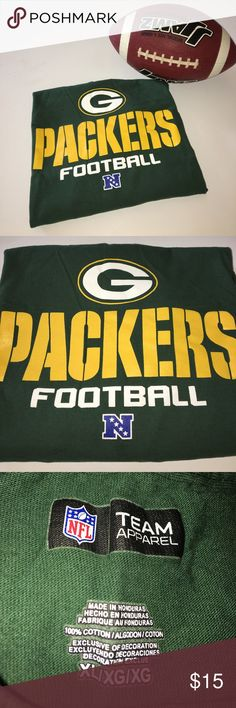 Green Bay Packers Football Long Sleeve T-Shirt XL Green Bay Packers Football NFL Team Apparel Long Sleeve T-Shirt XL. EUC, no flaws, only a little wrinkled from being stored and not worn. 100% cotton. Pet-free, smoke-free home. NFL Shirts Tees - Long Sleeve