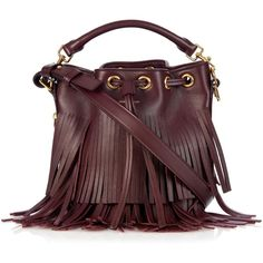Saint Laurent Emmanuelle small leather cross-body bag (€1.790) ❤ liked on Polyvore featuring bags, handbags, shoulder bags, burgundy, leather bucket bag, leather cross body purse, leather crossbody handbags, fringe crossbody and leather fringe purse