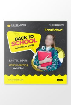Back to school admission marketing template for social media post#pikbest# Media Web, School Admissions, Web Banner Design, Powerpoint Word, Social Media Design, Banner Template, Back To School, Templates, Marketing