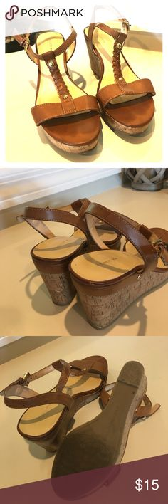 Tan wedges Tan wedges. Cork like heels. Worn last summer but still in good conditions. Liz Claiborne Shoes Wedges