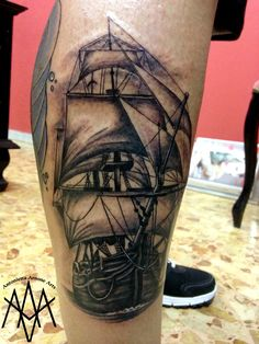 #sea #water #ocean #sail #sailing #sailor #tattoo #tattooed #tattooart #tattoodesign #tattooartist #artist #blackandwhite #blackandgrey #sealife