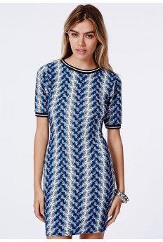 Amilie Contrast Binding Bodycon Dress Blue