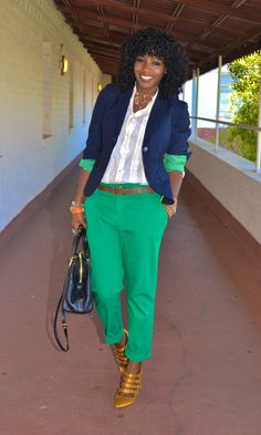love the fit of the pant and the color combo with the green pant & yellow shoe.