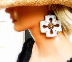 Silver Button Cross Earrings by JewlzJunkieTX on Etsy, $26.00