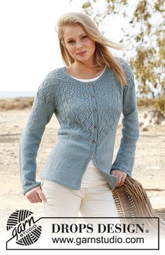 """Knitted DROPS jacket with lace pattern and round yoke in """"BabyAlpaca Silk"""". A DROPS Design Drops Design, Lace Knitting Patterns, Knitting Designs, Knitting Tutorials, Lace Patterns, Stitch Patterns, Summer Knitting, Free Knitting, Knit Cardigan Pattern"""