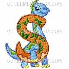 Free Embroidery Design: Jurassic Dinosaur Font – Letter S Embroidery Alphabet, Cute Embroidery, Embroidery Fonts, Machine Embroidery Designs, Embroidery Patterns, Sewing Patterns, Sewing Tips, Sewing Hacks, Dinosaurs