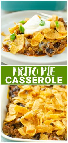 Layers of Fritos, seasoned ground beef, black beans, enchilada sauce, and cheese! Frito Pie Casserole is an easy, 30 minute dinner that the whole family will love.