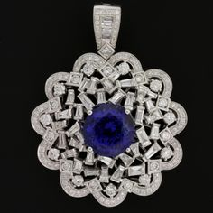 Tanzanite Pendant - Dark Super Neon Tanzanite 8.46ct Portuguese Round Top Gem  World Class with 4 ct wt of Diamonds in 18K White Gold  **Circelli Signature Collection**