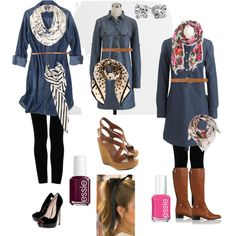 denim shirtdress with leggings, scarf and boots (Try with pink/gray patterned leggings and plain gray scarf)