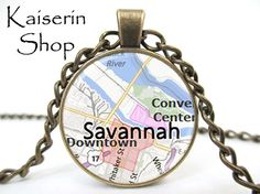 Savannah Necklace Map Necklace Pendant Charm by KaiserinShop