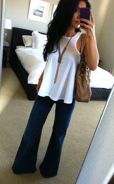 wide leg jeans white tank.