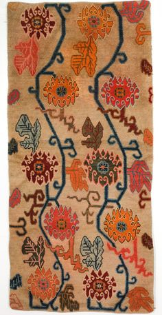 tibetan sitting carpet with lotus vine design