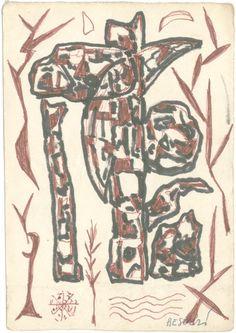 E. Besozzi pitt. s.d. (1958) Composizione pennarello e biro su carta cm. 13x9,1 arc. 656