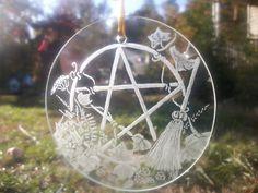 Pagan Ornament hand engraved suncatcher pentacle pentagram yule solstice.