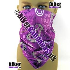 Pale Purple Paisley Flower Multifunctional Headwear / Neck Tube / Tube Bandana. One of over 400 Styles for Men and Women