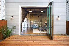 Folding glass patio door