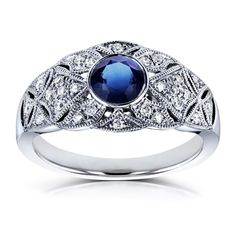 Annello by Kobelli 14k Gold 5/8ct TGW Bezel Sapphire and Diamond Vintage Engagement Ring