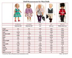 Measurements for 6 inch mini dolls such as American Girl (both vinyl and cloth bodies), Our Generation, Lori, Pottery Barn) by Merry Manatees Creations