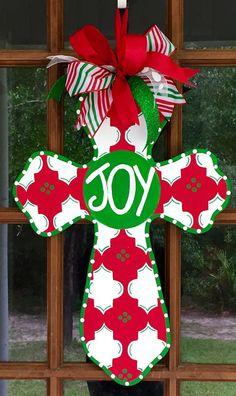 Joy+Wooden+Cross+Door+Hanger+/+Wooden+Cross+by+SouthernWhimsyStyle