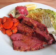Baked Honey-Mustard Corned Beef with Roasted Cabbage, Roasted Carrots, and Buttered Red Potatoes - Damn Delicious