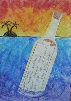 dreampainters: Message in a Bottle: Oil Pastel
