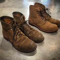 「My Red Wing Shoes 8113 Iron Rangers Hawthorne Muleskinner are transformed after wearing them for 3,5 years #redwingheritage #redwingshoes #muleskinner…」