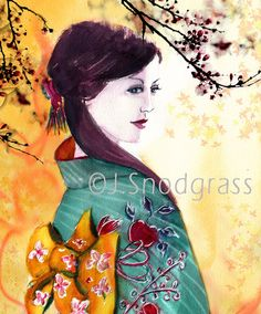 Geisha Girl with Apple Blossoms Wall Art Orange Red by CalArtist, $22.00