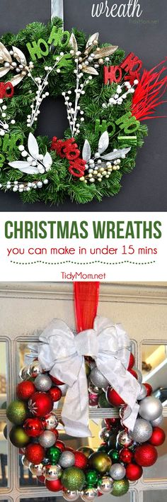 Welcome your guests with these ideas for festive Christmas wreaths you can make in 15 minutes or less!