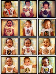 Infant Monthly Age Stickers. I put the stickers on a white onesie and I put my son in the same seat to take every photo!